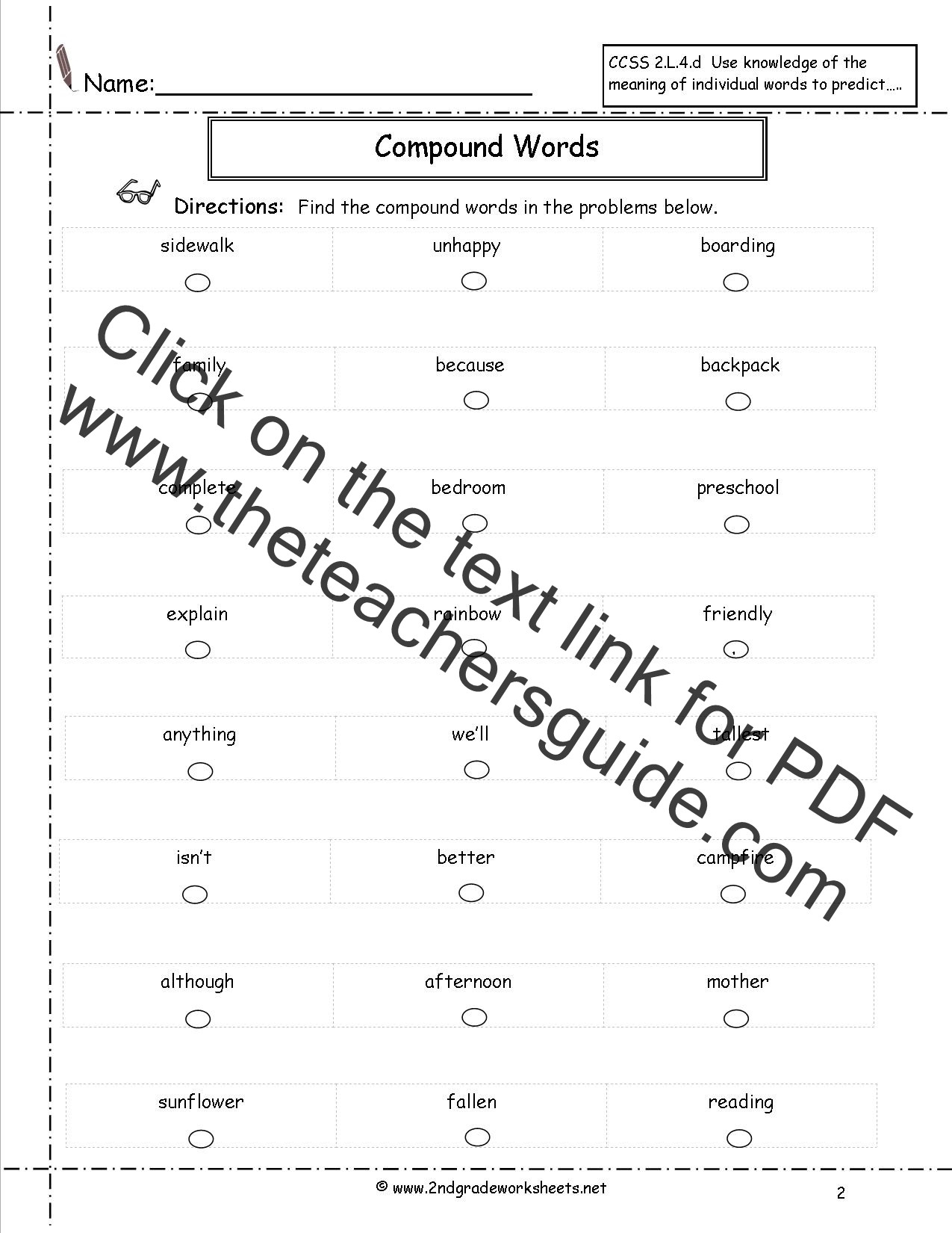 Free Printable Compound Word Worksheets Pound Words Worksheets