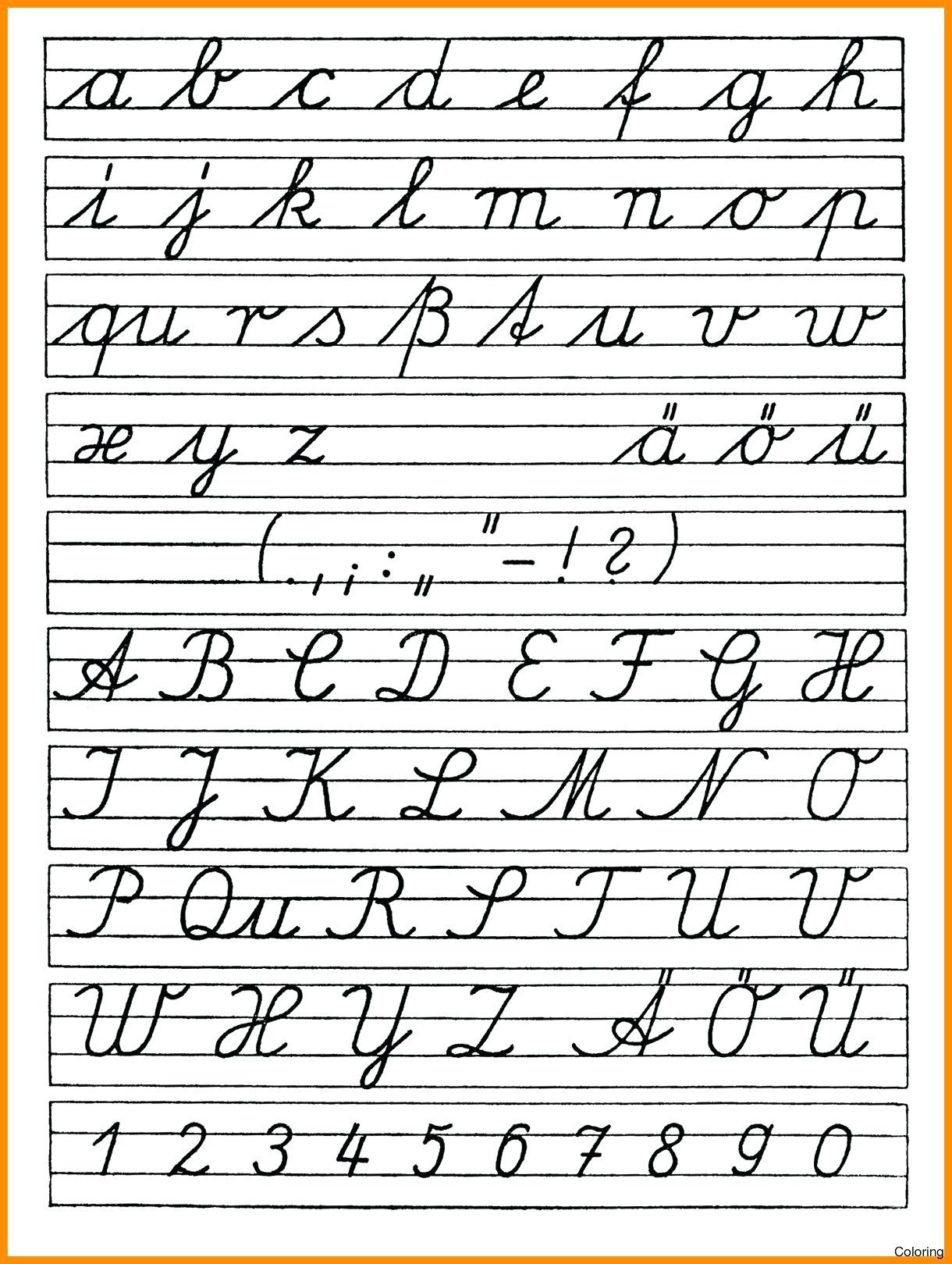 Free Printable Cursive Alphabet Chart Math Worksheet Printable Cursive Letters Coloringages