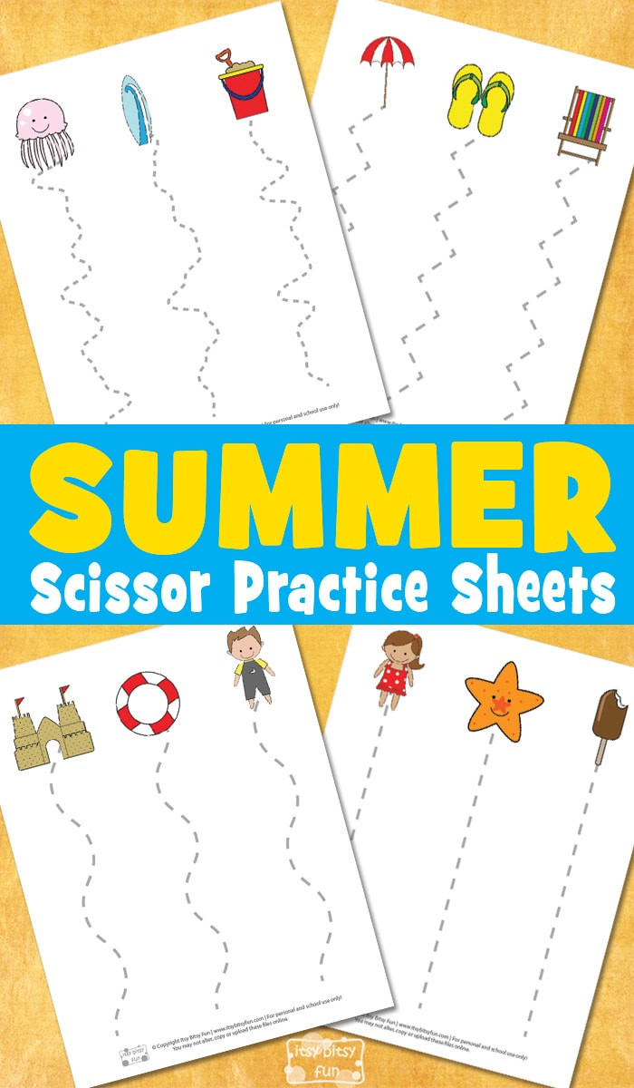 Free Printable Cutting Worksheets Summer Scissor Practice Sheets Itsybitsyfun