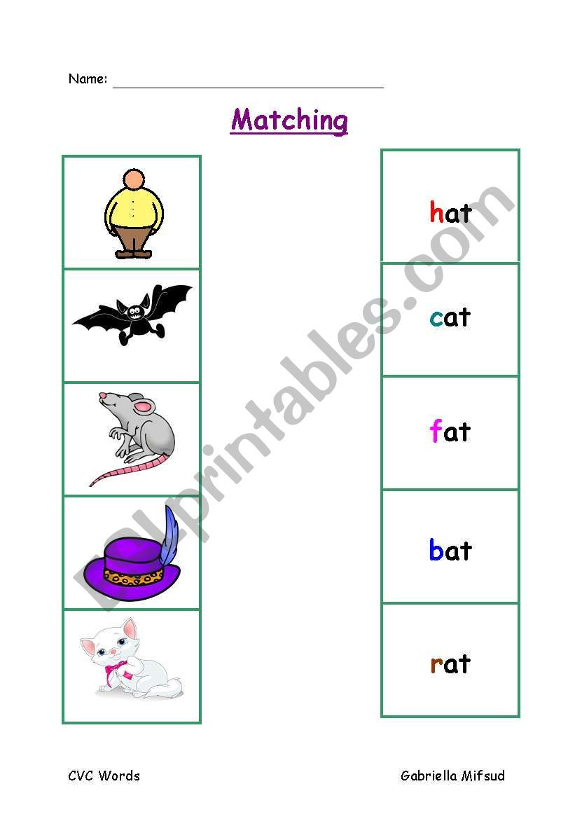 Free Printable Cvc Worksheets Matching Cvc Words to Pictures Esl Worksheet by Gabbym
