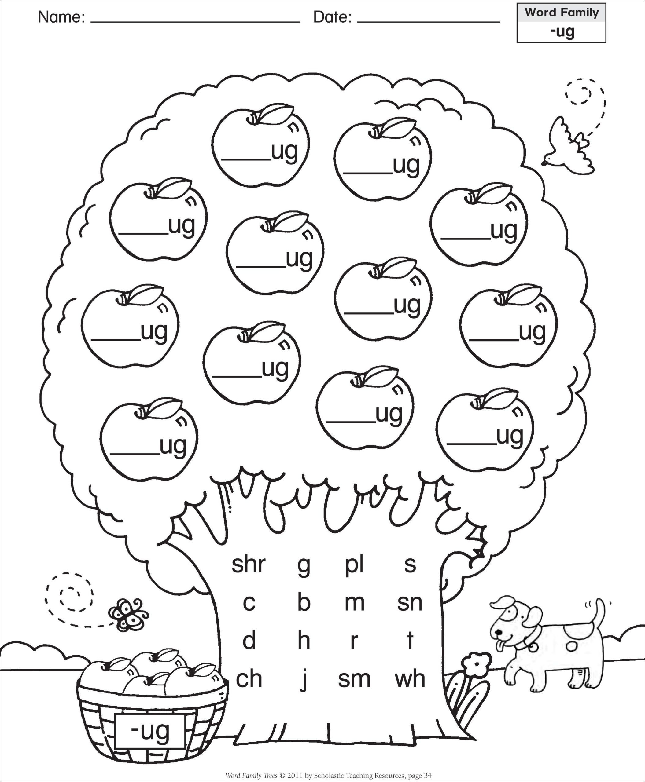 Free Printable Cvc Worksheets Short Vowel Ug Word Family Tree Families Reading Free Cvc