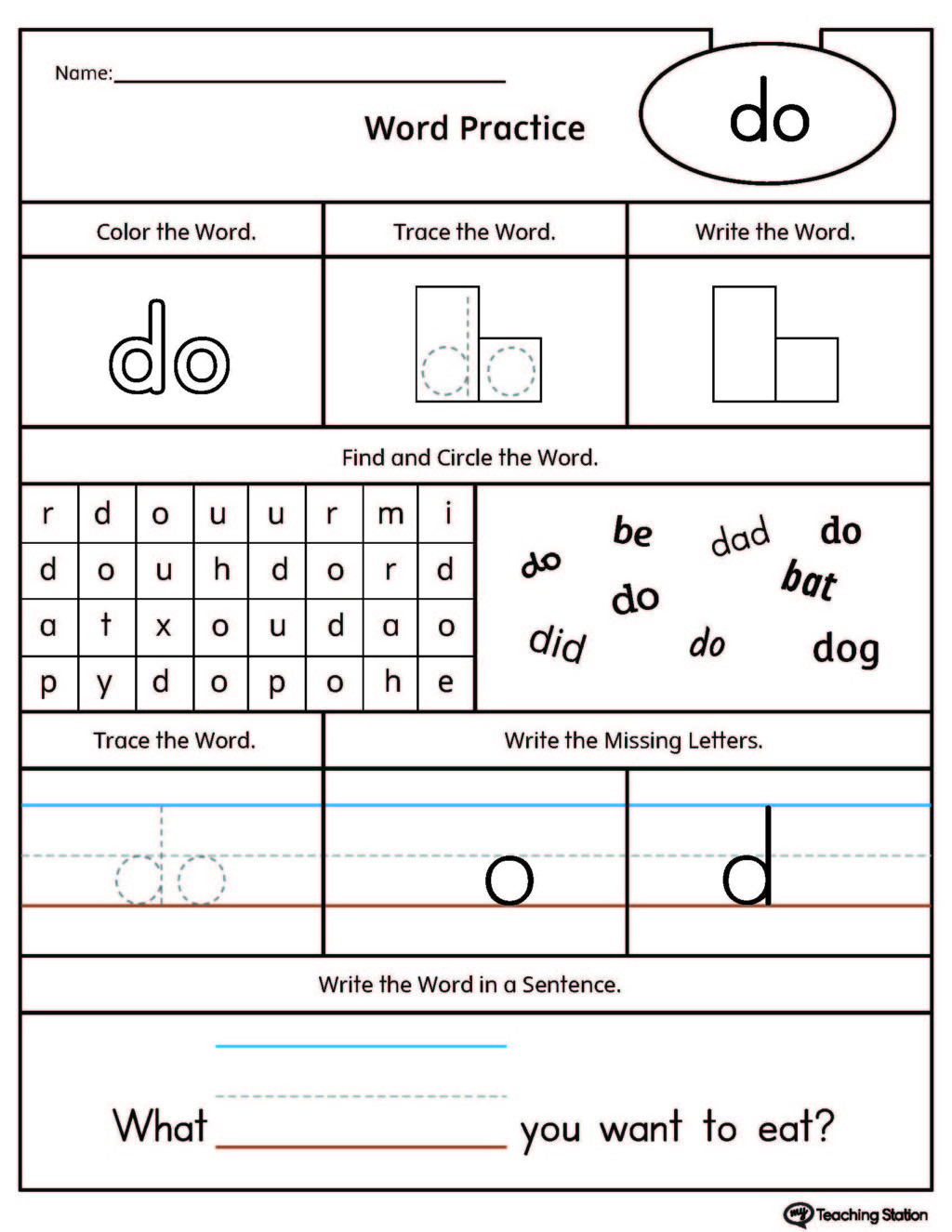 Free Printable Dog Training Worksheets Worksheet High Frequency Word Do Printablet