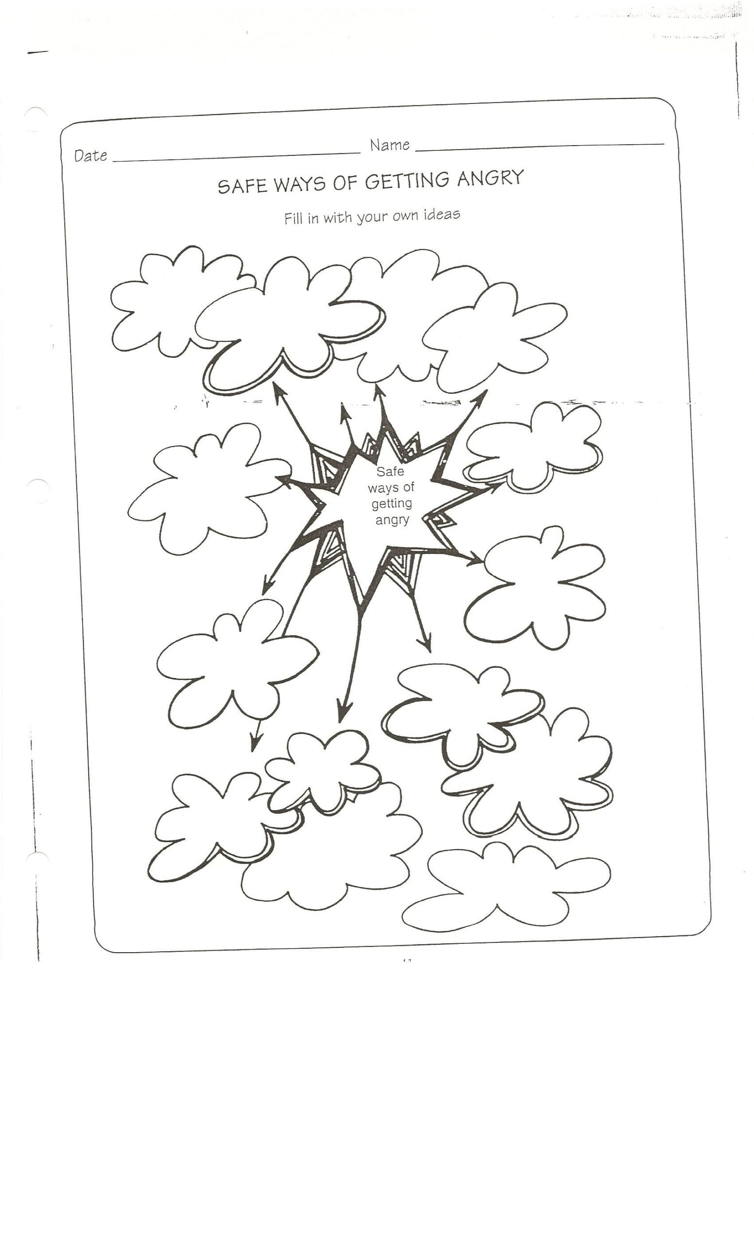 Free Printable Feelings Worksheets Safe Way to Get Angry Worksheet Conflict Resolution Talking