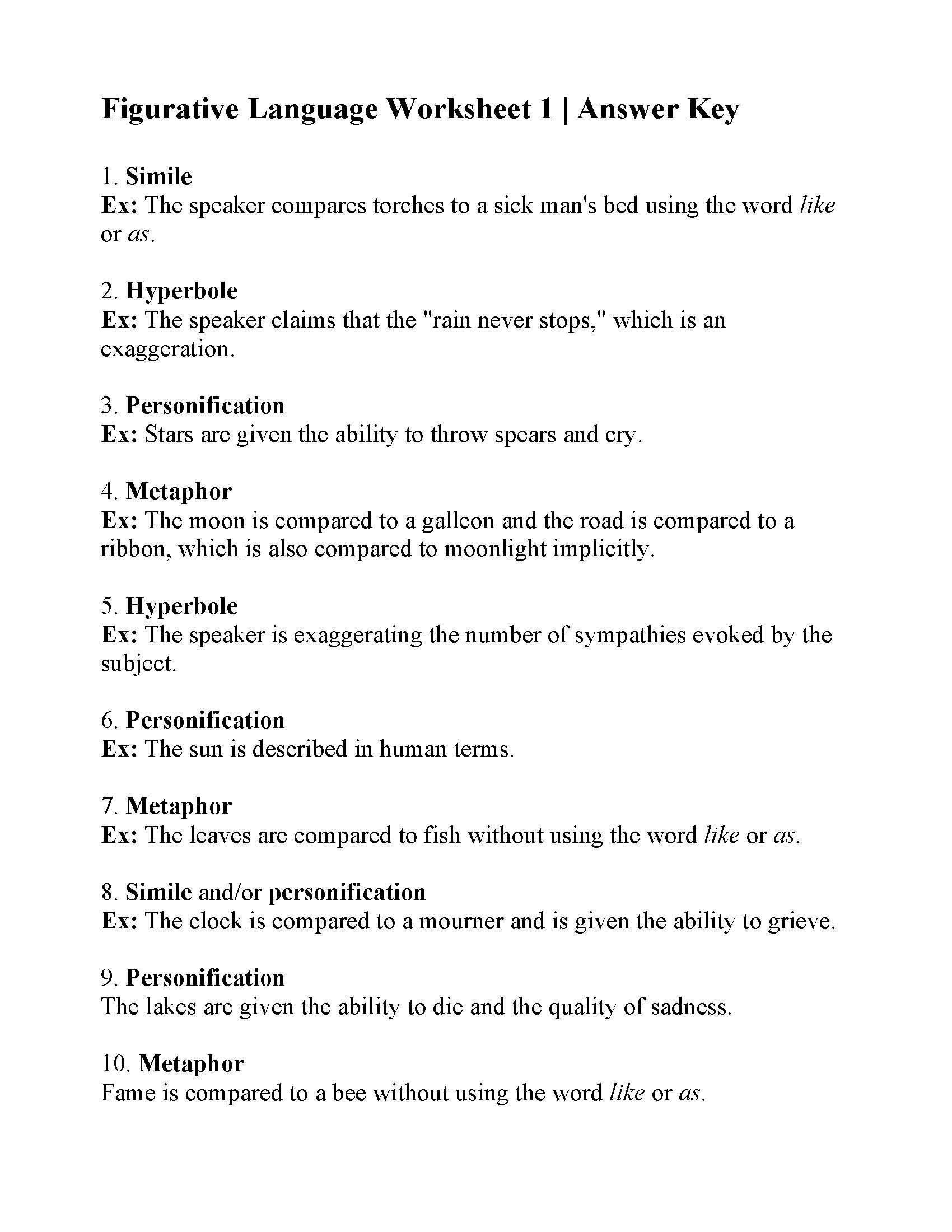 Free Printable Figurative Language Worksheets 10 Printable Worksheets Figurative Language In 2020