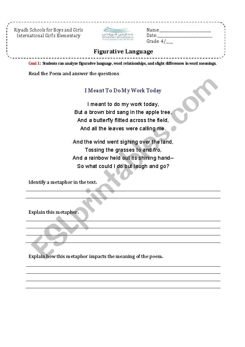 Free Printable Figurative Language Worksheets Figurative Language Find A Metaphor In the Poem Esl