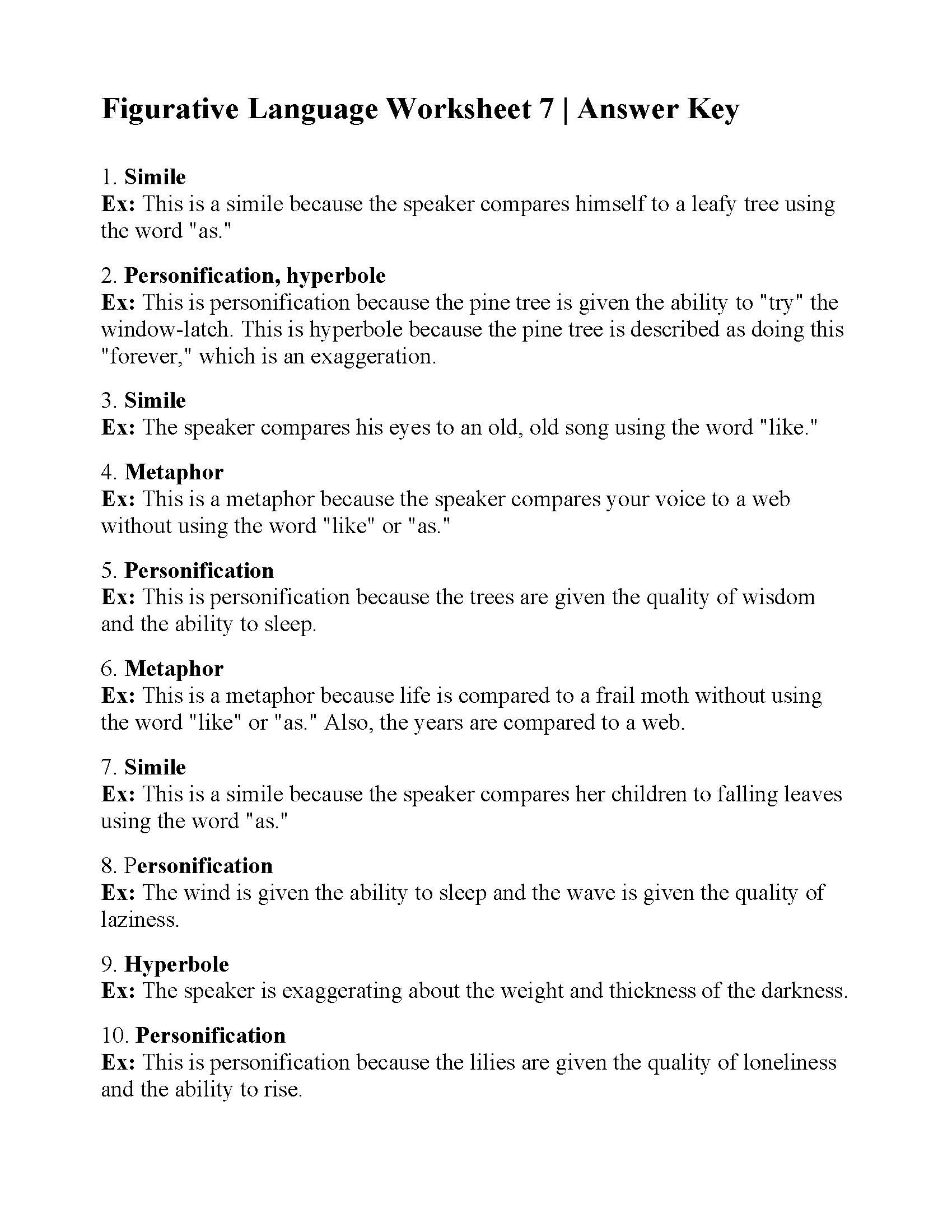 Free Printable Figurative Language Worksheets Figurative Language Worksheet Answers Printable Worksheets