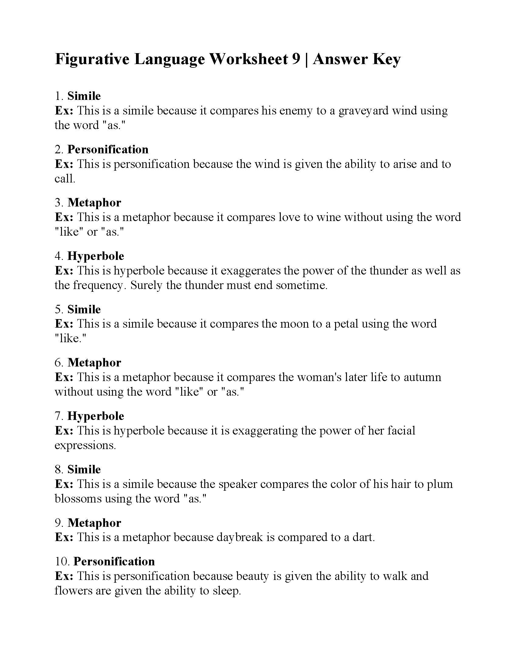 Free Printable Figurative Language Worksheets Figurative Language Worksheet Answers Worksheets with