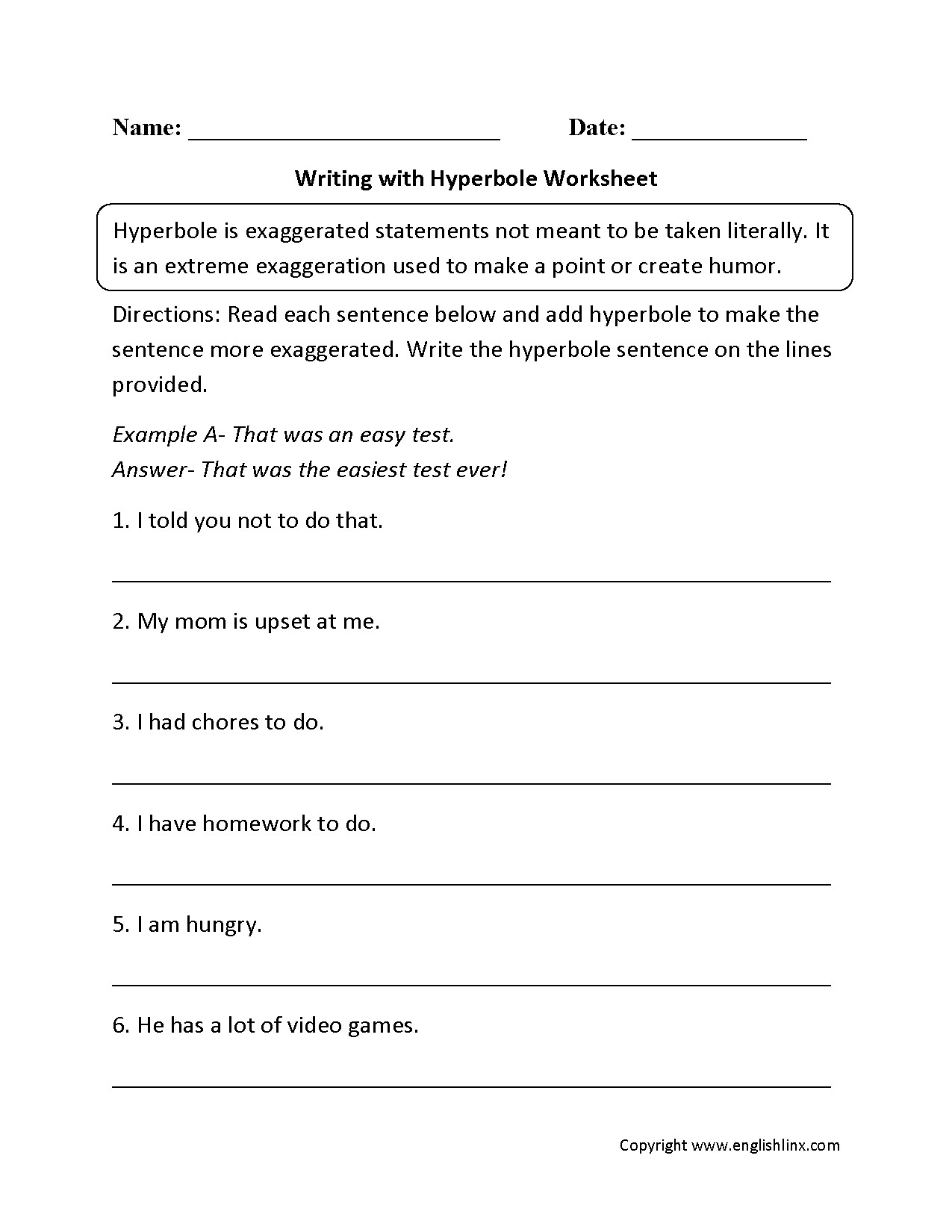 Free Printable Figurative Language Worksheets Hyperbole Figurative Language Worksheet