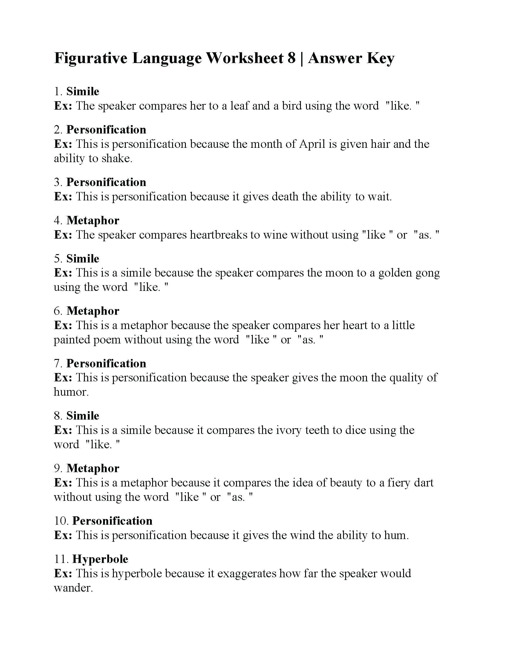 Free Printable Figurative Language Worksheets Pin On Printable Worksheets for Preschoolers