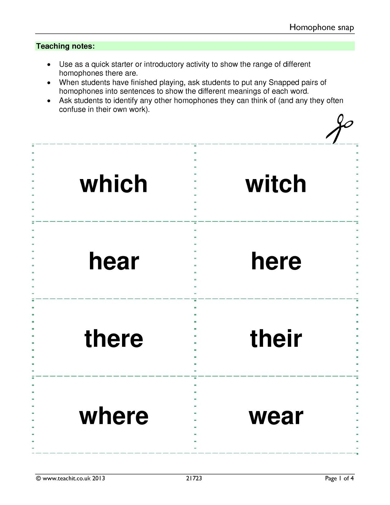 Free Printable Homophone Worksheets Free Printable Homophone Worksheet