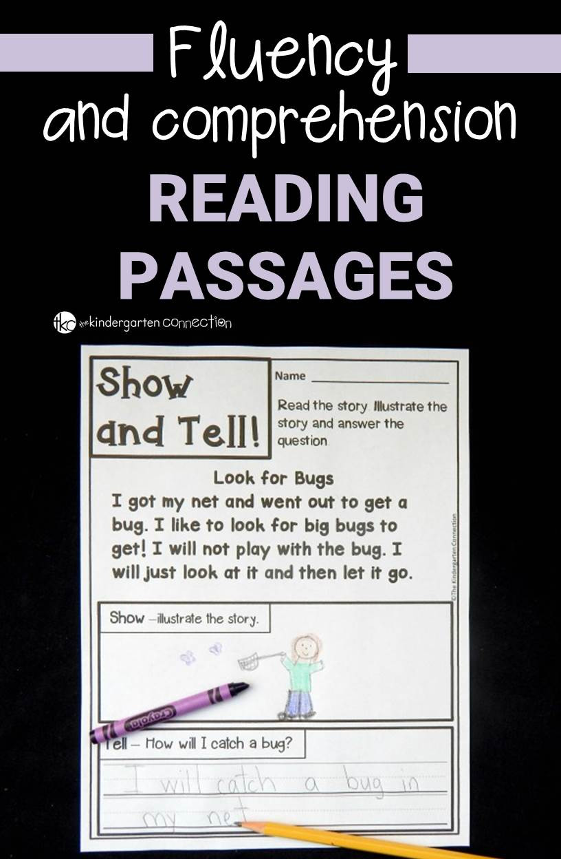 Free Printable Kindergarten Fluency Passages Fluency and Prehension Passages the Kindergarten Connection