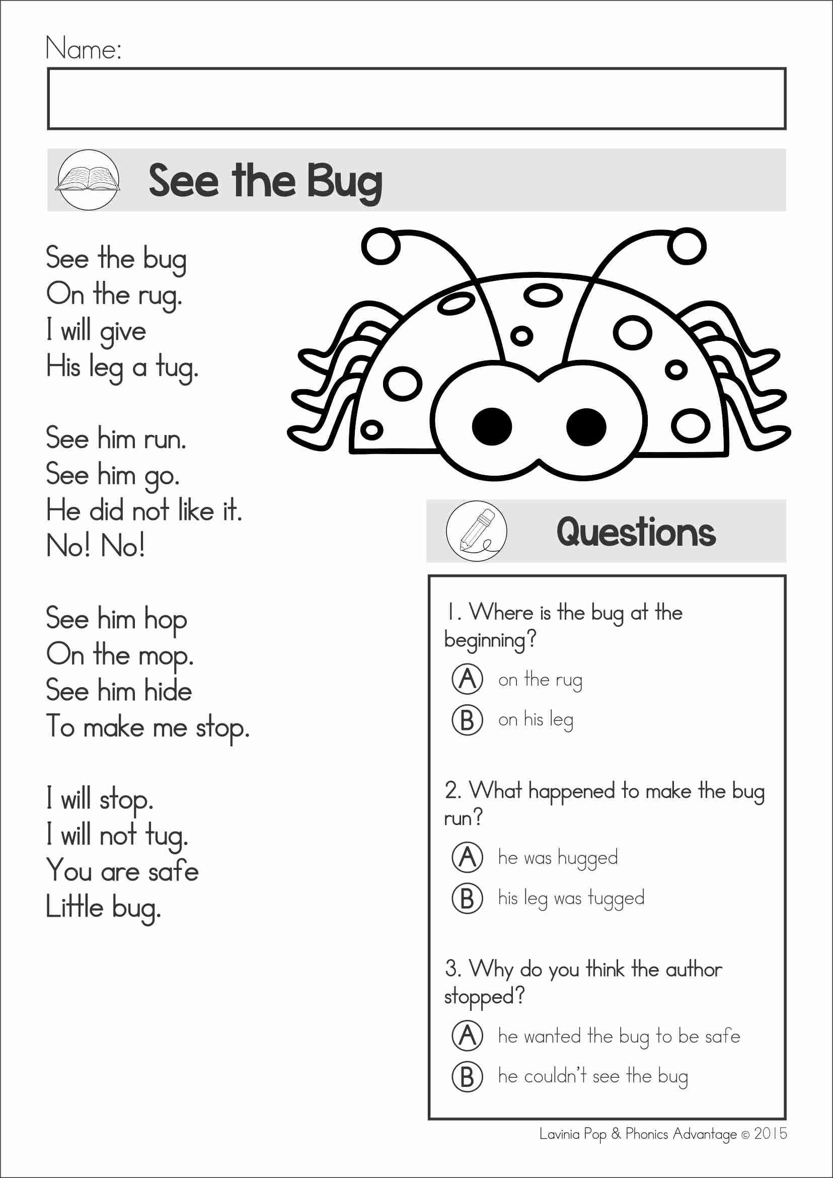 Free Printable Kindergarten Fluency Passages Reading Prehension & Fluency Phonics Poems Color and