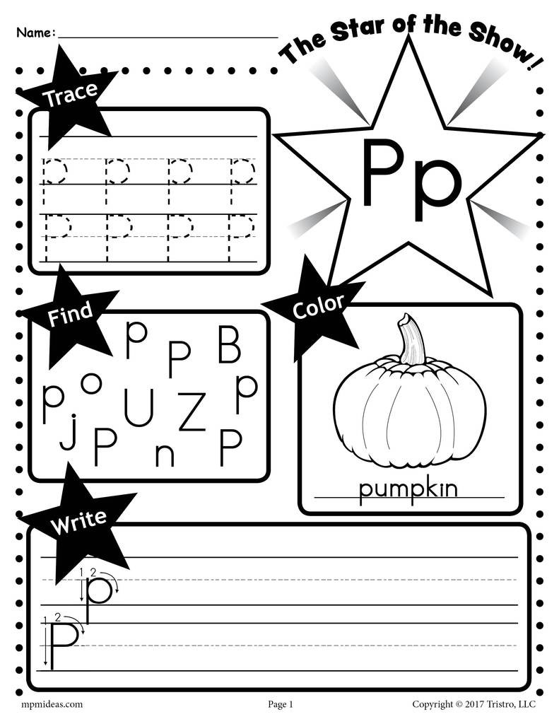 Free Printable Letter P Worksheets Letter P Worksheet Tracing Coloring Writing & More