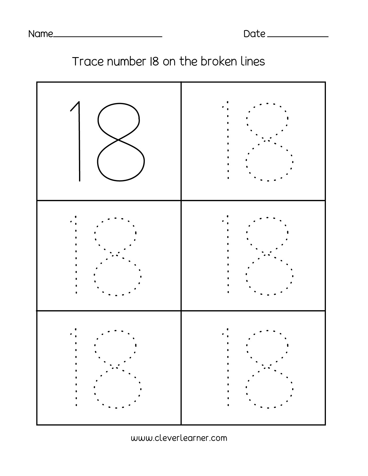 Free Printable Number Tracing Worksheets Number 18 Writing Counting and Identification Printable