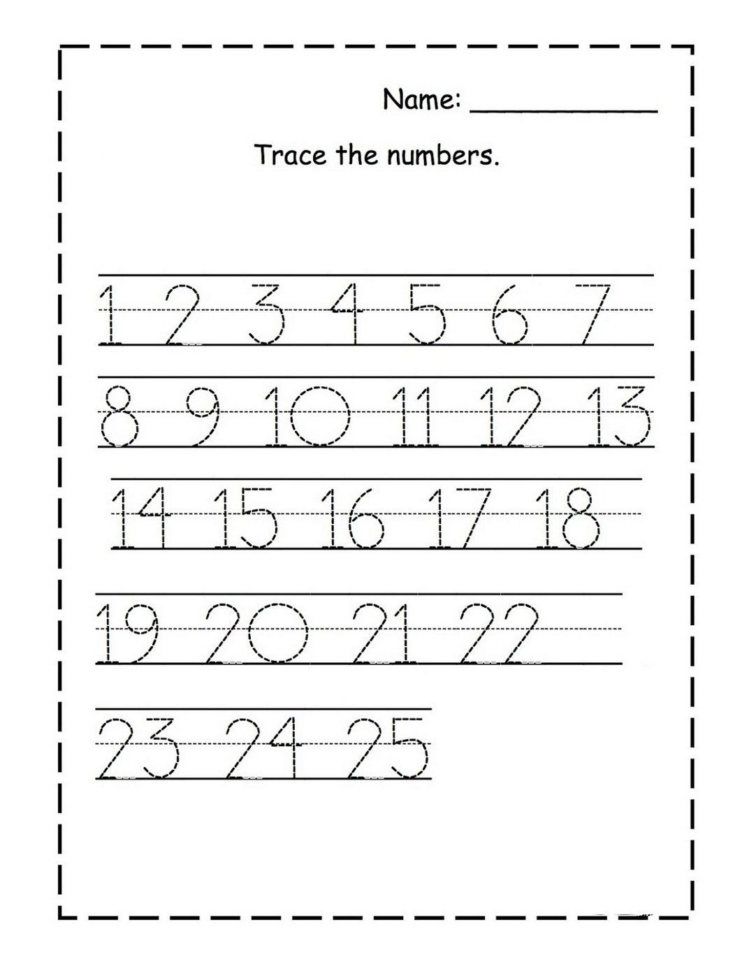 Free Printable Number Tracing Worksheets Tracing Numbers 1 25 for Kg Page