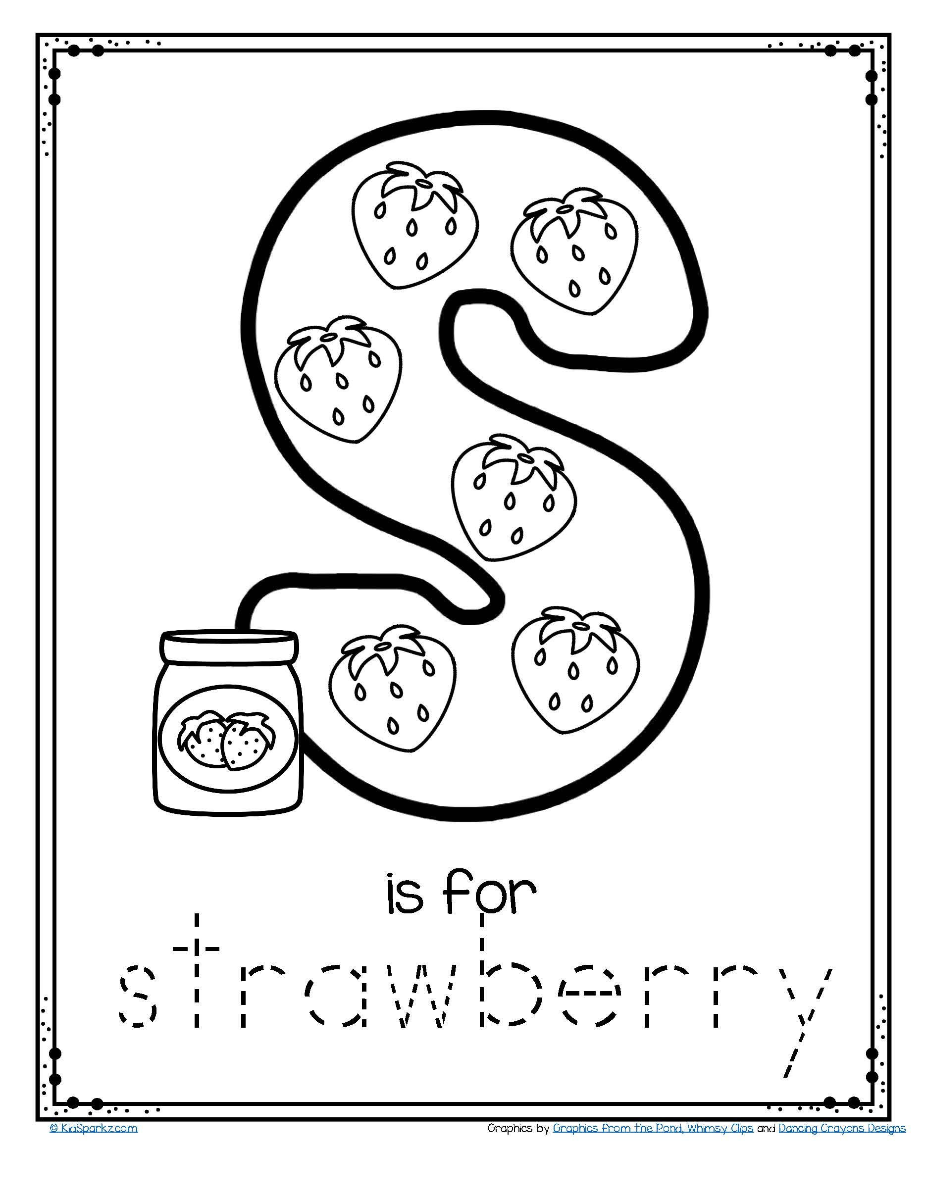 Free Printable Preposition Worksheets Free is for Strawberry Alphabet Letter Printable Recognition