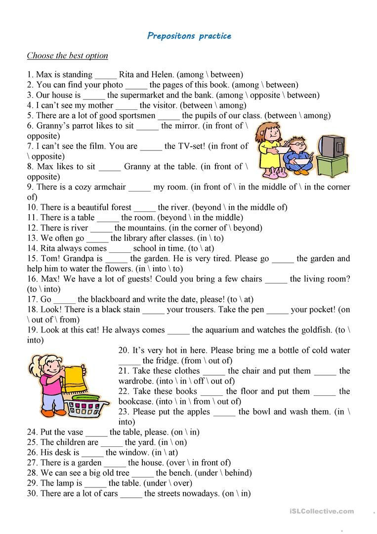 Free Printable Preposition Worksheets Prepositions Practice Worksheet Free Esl Printable