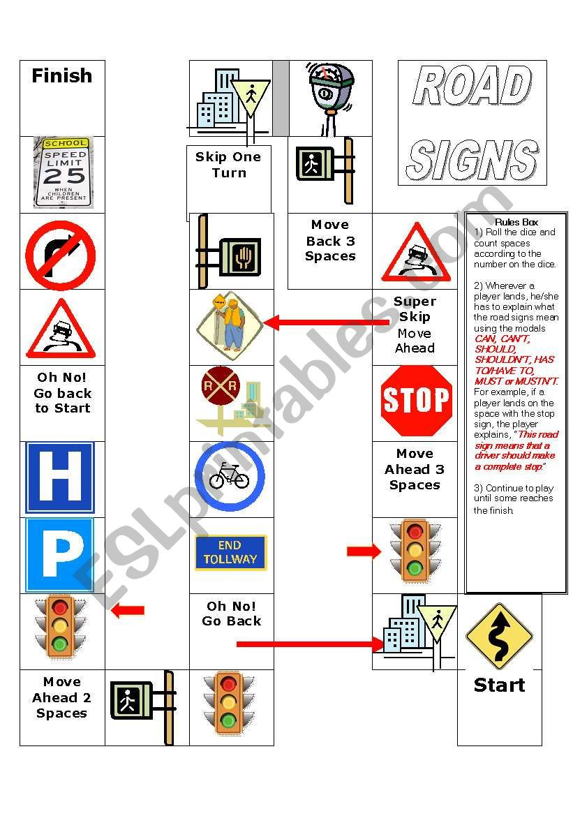 Free Printable Safety Signs Worksheets Road Signs Board Game Esl Worksheet by Annagonzalez727