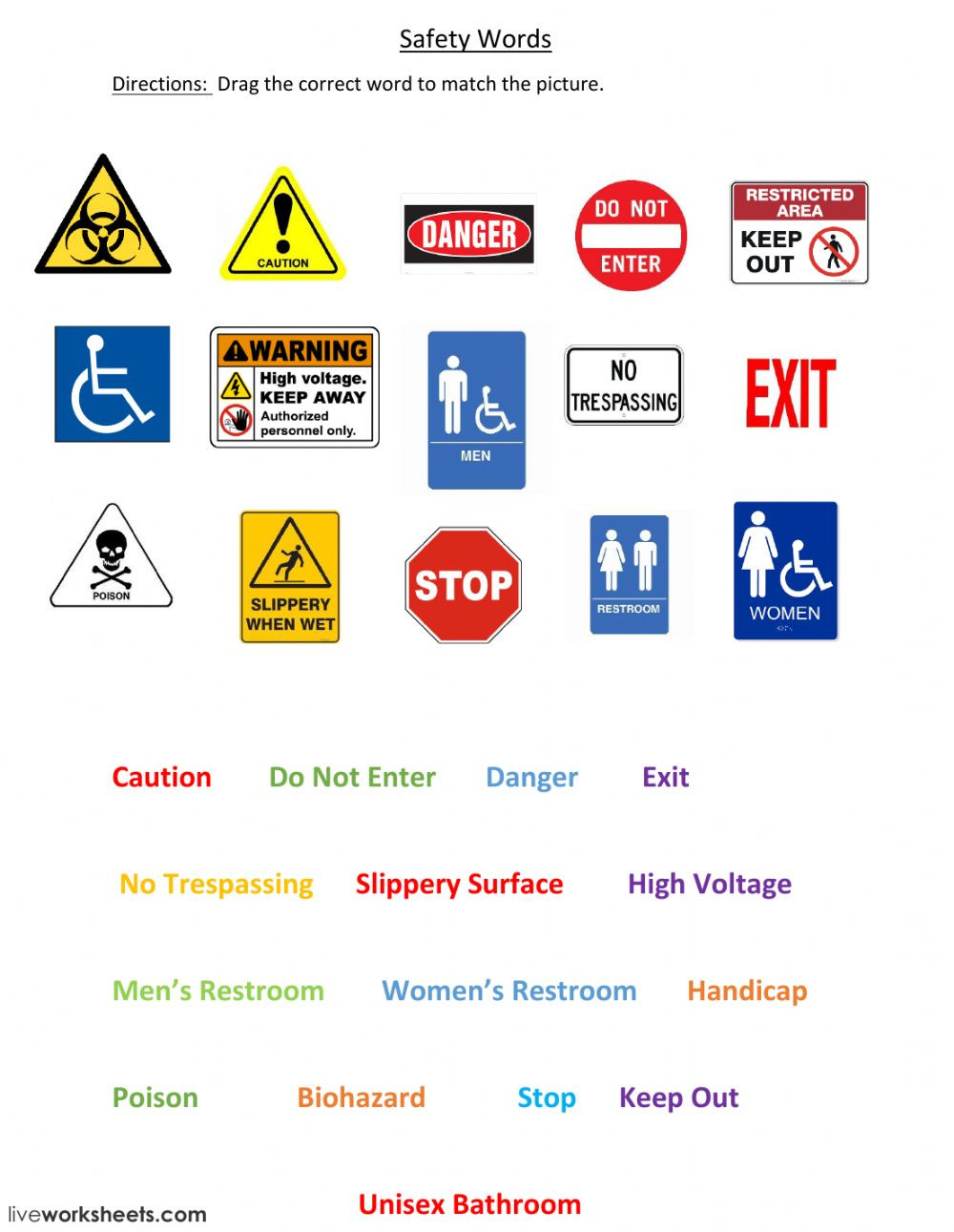 Free Printable Safety Signs Worksheets Safety Signs Interactive Worksheet at Work Worksheets