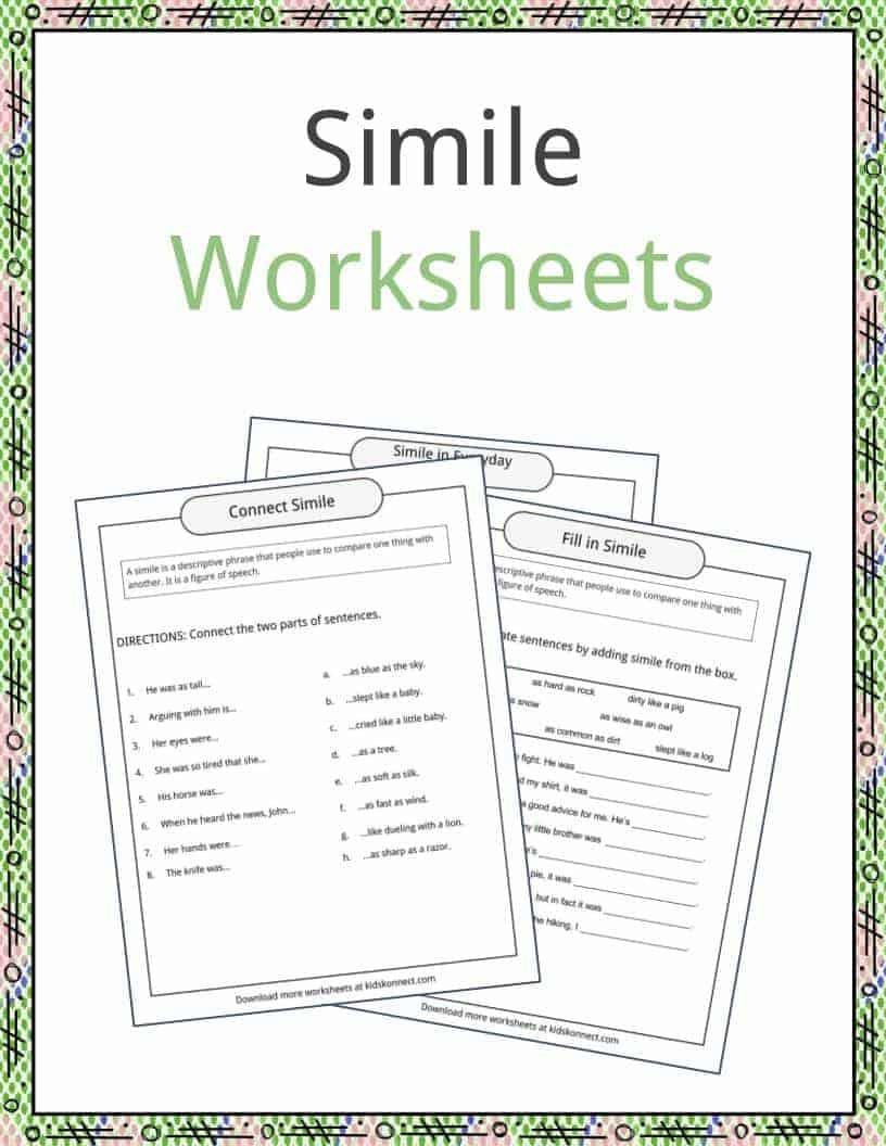 Free Printable Simile Worksheets Simile Examples Definition and Worksheets
