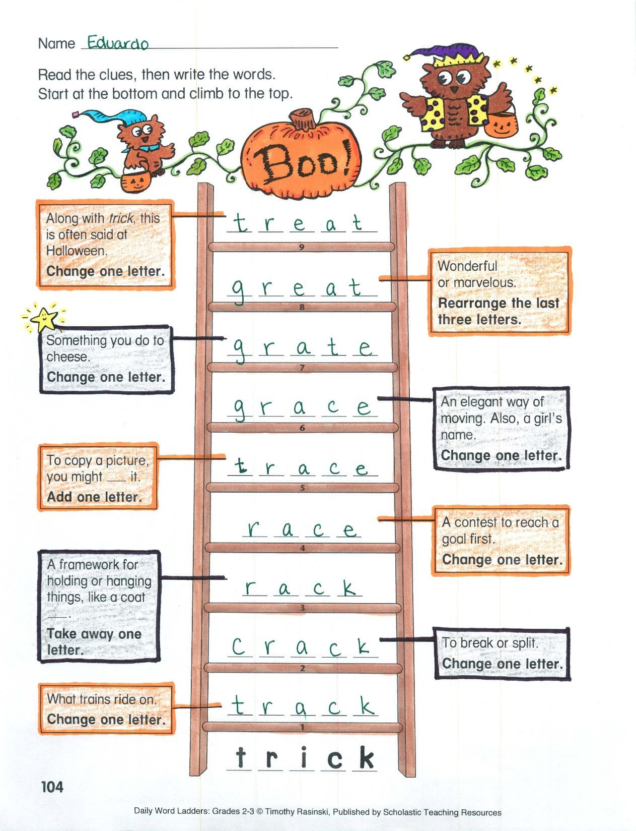Free Printable Word Ladders Students Begin at the Bottom Of the Ladder then Add Remove