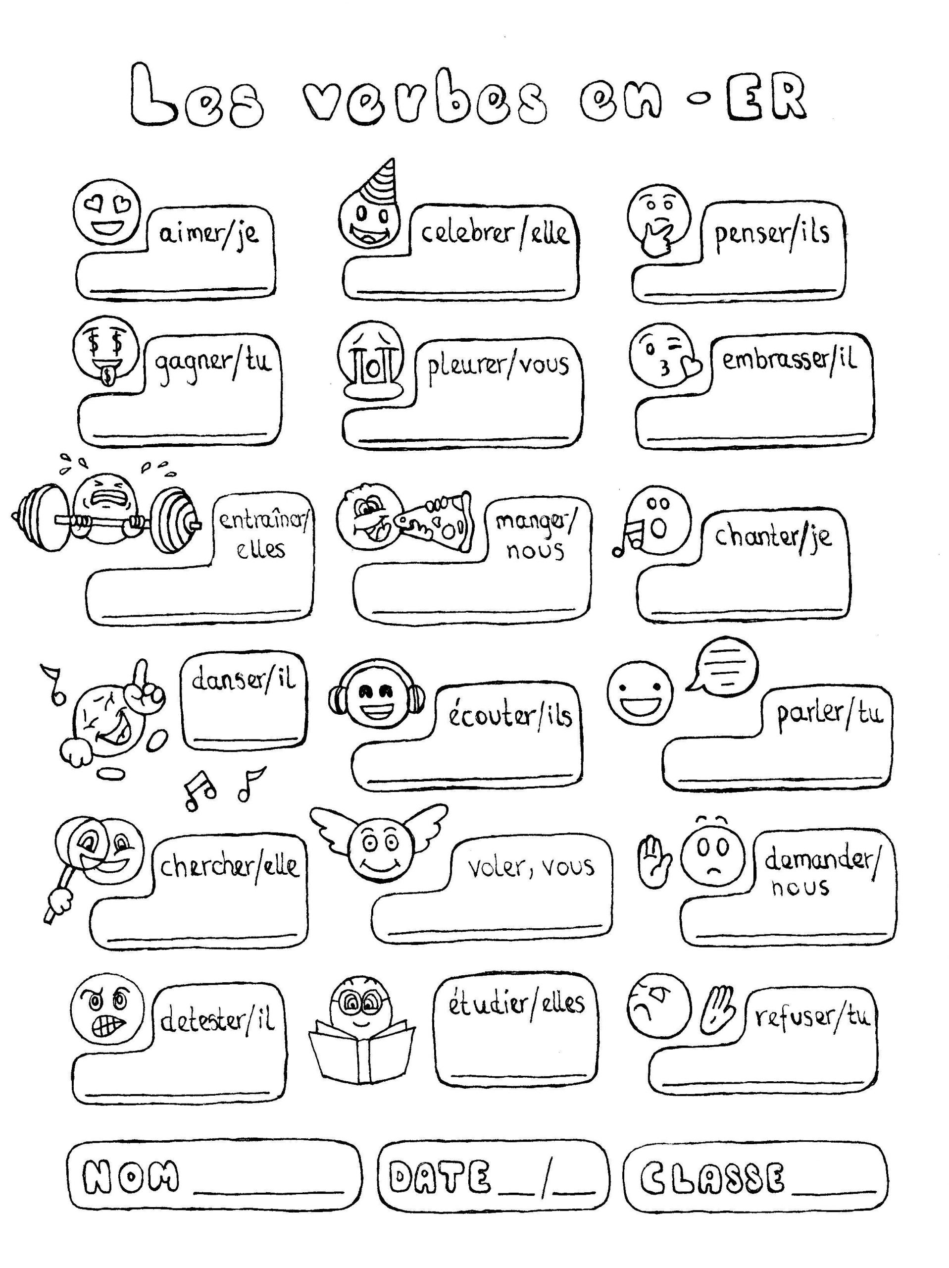 French Printable Worksheets French Er Verbs Conjugation Fun No Prep Worksheet Emojis