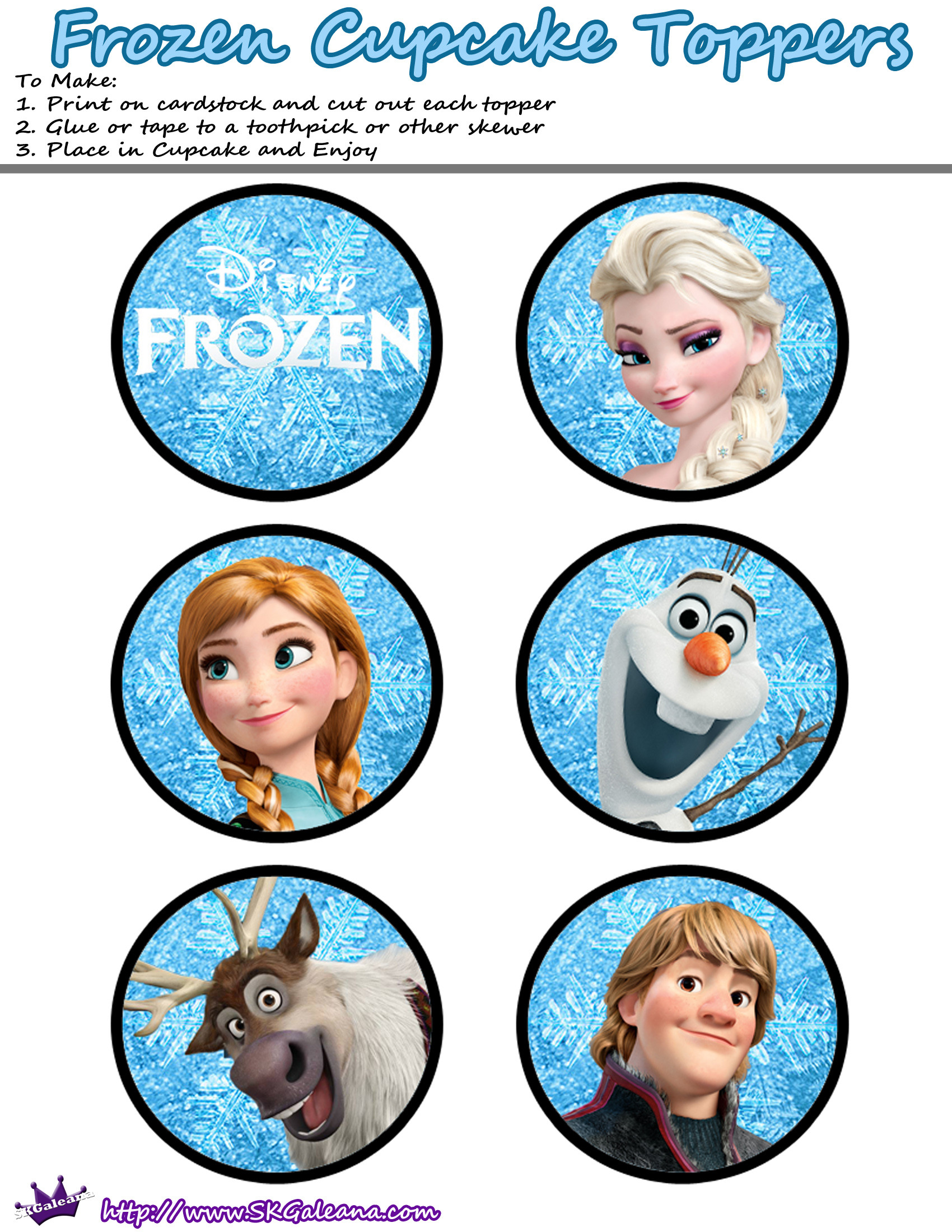 Frozen Cake toppers Printable Frozen Cake Cupcake toppers the Cake Boutique