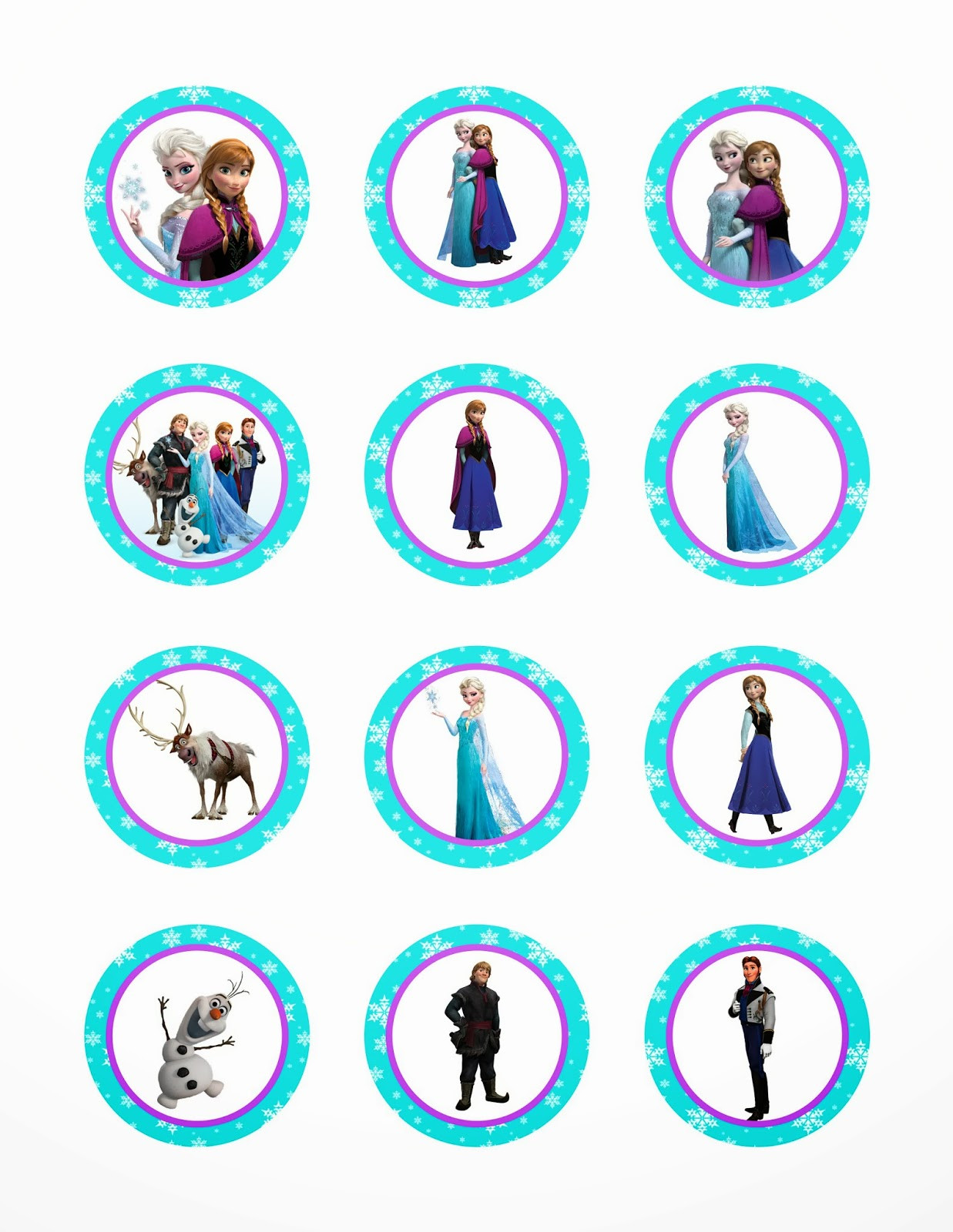 Frozen Cake toppers Printable Printable Princess Party Decorations and Supplies Free