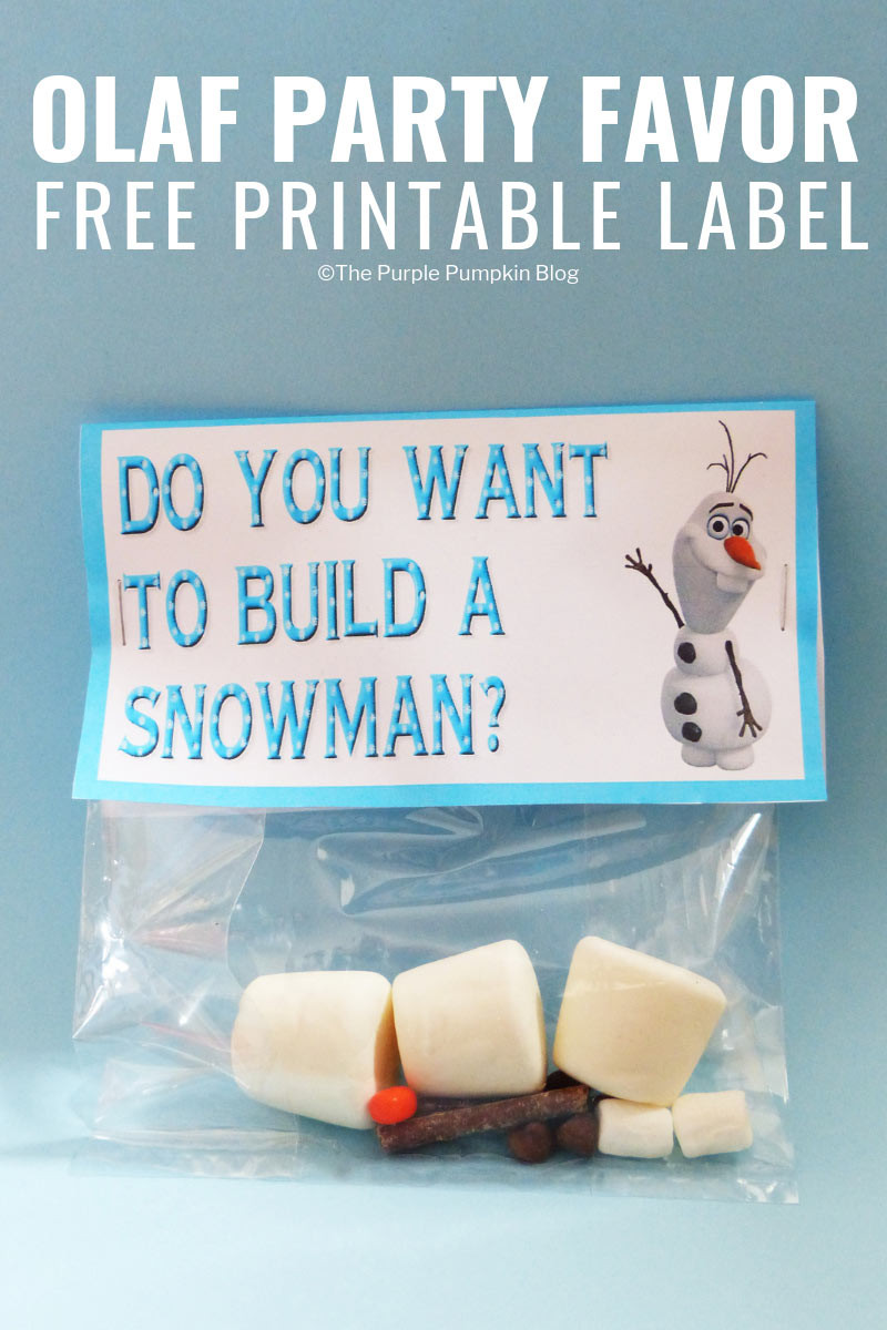 Frozen Free Printable Food Labels Do You Want to Build A Snowman Olaf Party Favor Printable