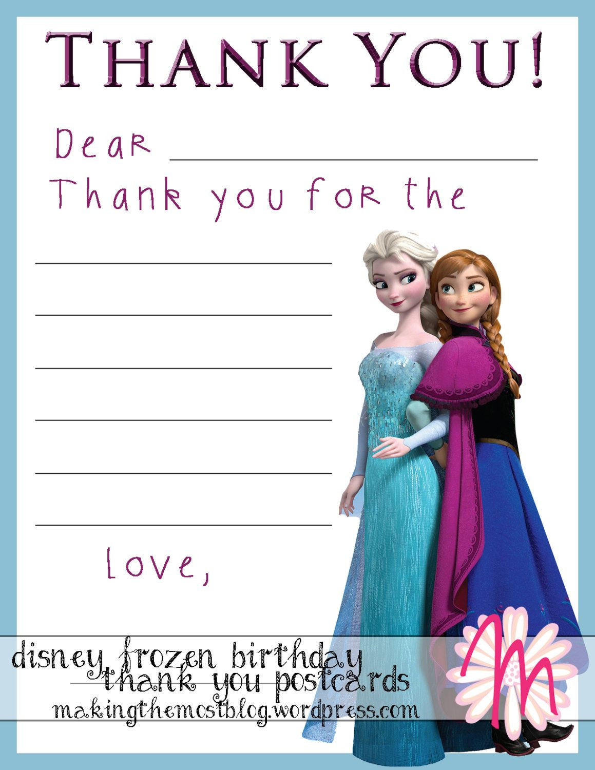Frozen Invitations Printable Disney Frozen Birthday Party Thank You Postcards