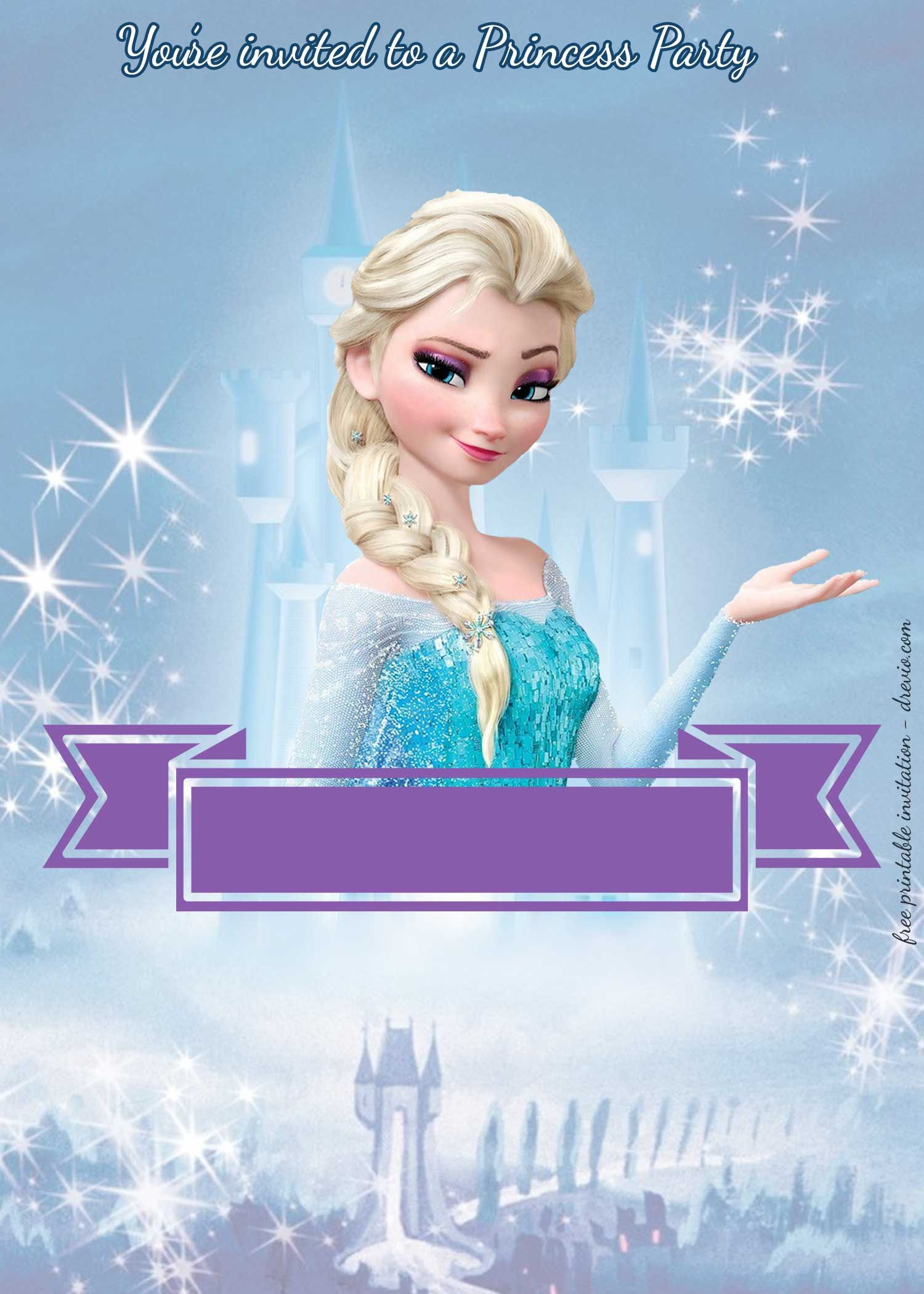 Frozen Invitations Printable Free Princess Party Birthday Invitation Templates
