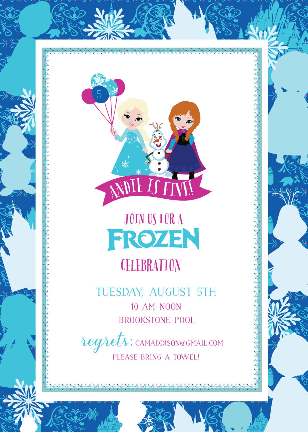 Frozen Invite Printable Frozen Birthday Invitation Frozen Printable Invitation Frozen