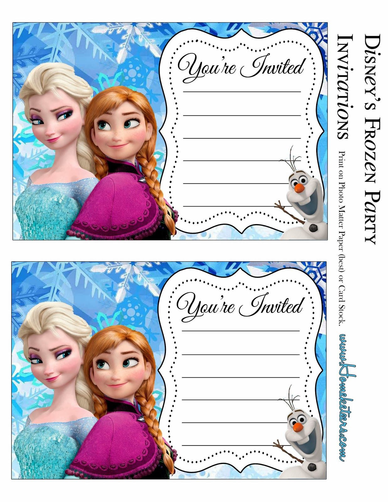 Frozen Invite Printable Frozen Party Free Printable Invitations