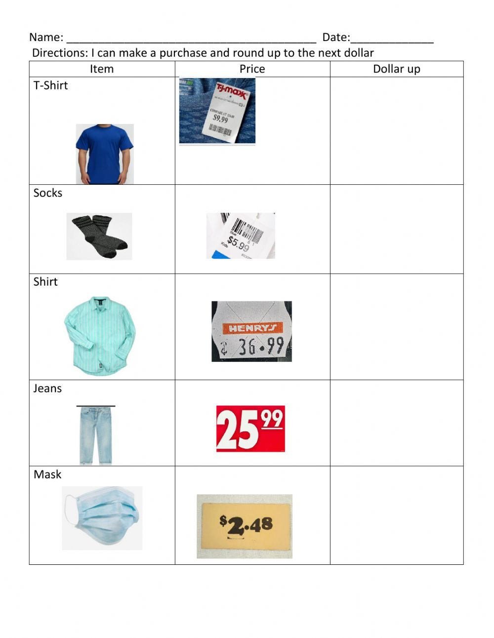 Functional Math Worksheets Special Education Dollar Up 2 Interactive Worksheet