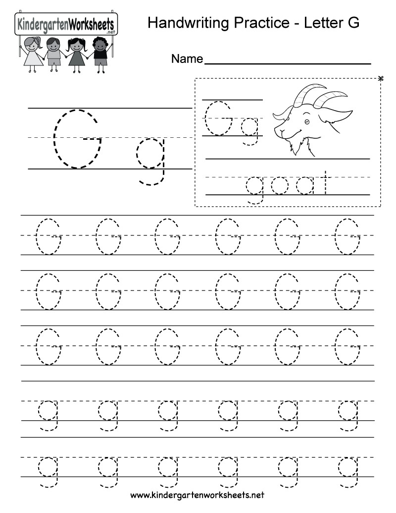 G Worksheets for Preschool Letter G Writing Practice Worksheet Free Kindergarten