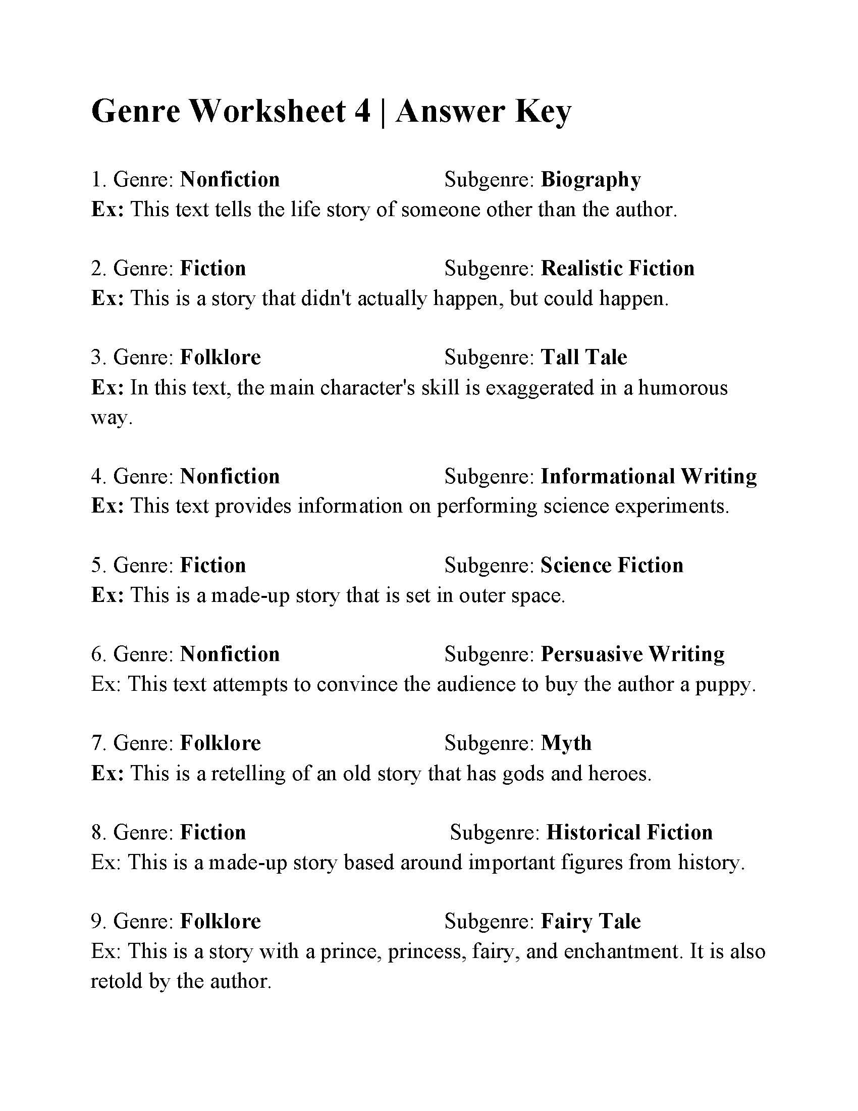 Genre Worksheets 4th Grade Historical Fiction Worksheet