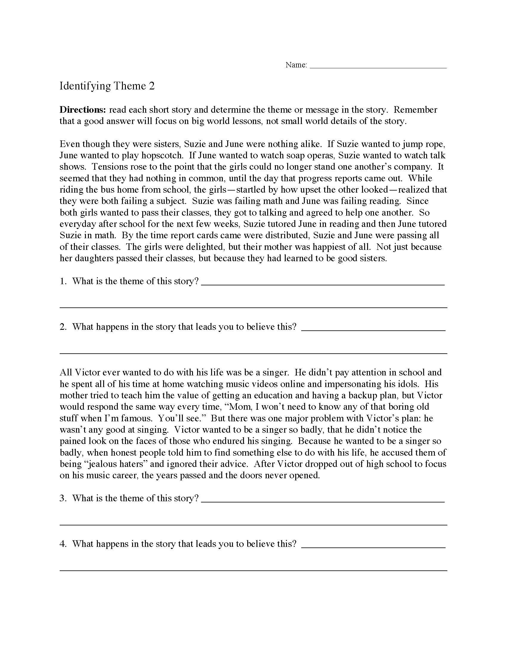 Genre Worksheets 4th Grade theme or Author S Message Worksheets