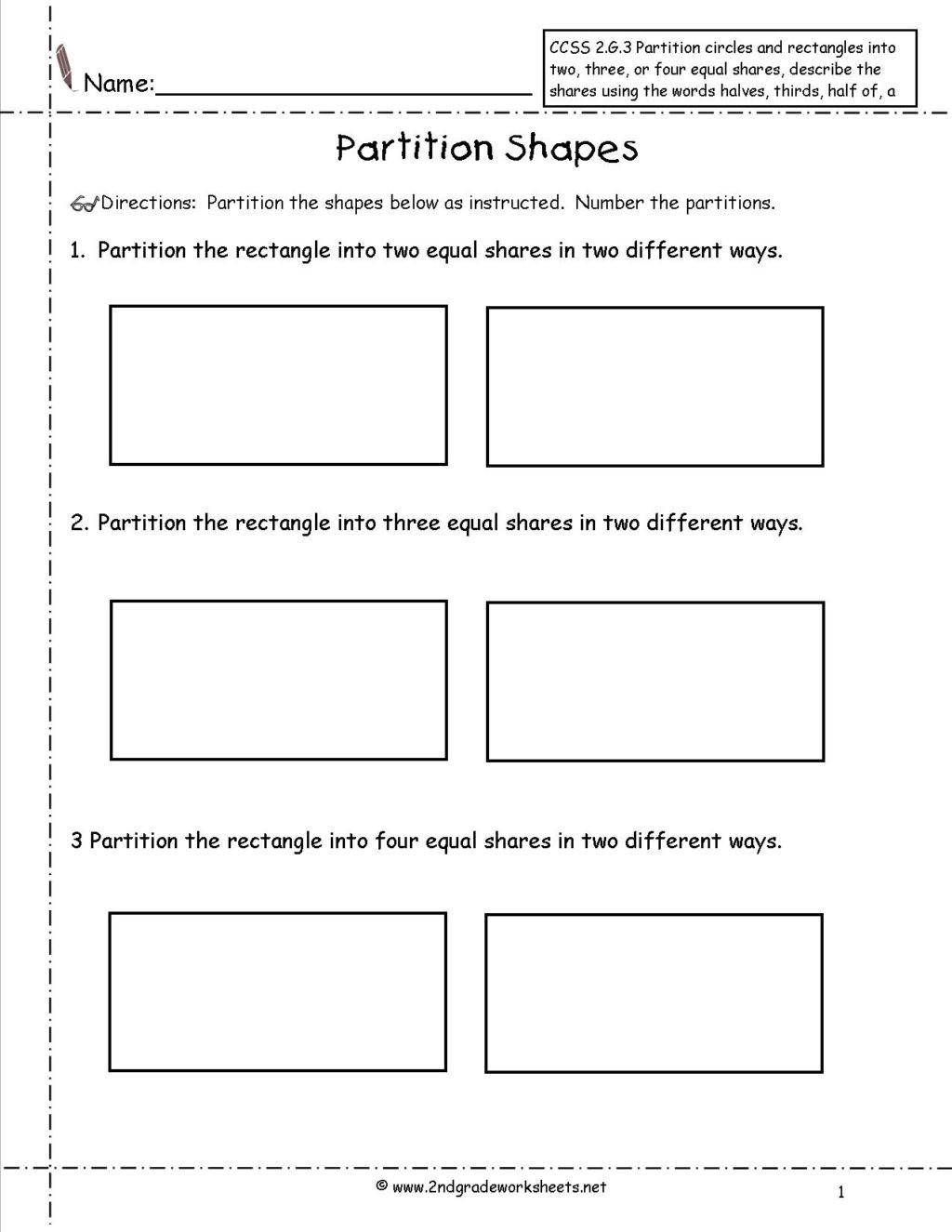 Geometric Shapes Worksheet 2nd Grade Worksheet 2nd Grade Geometry Worksheets Ccss G Partition