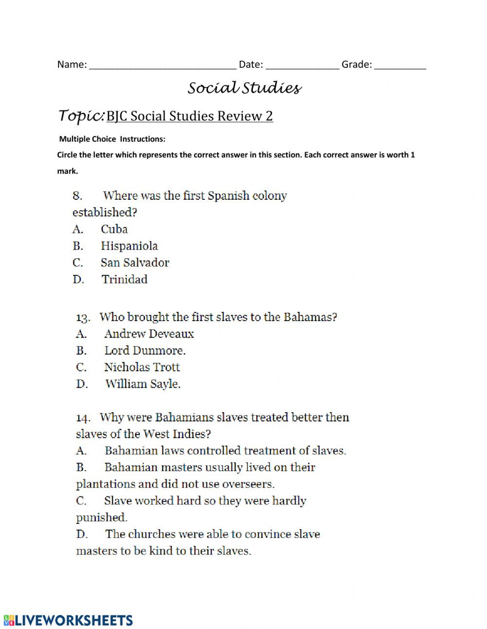 Grade 7 social Studies Worksheets Bjc Review Multiple Choice Questions 3 Interactive