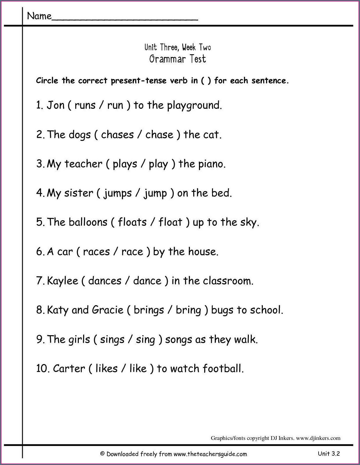 Grammar Worksheet 1st Grade Math Worksheet 2nd Grade Grammarets Second Printable Free