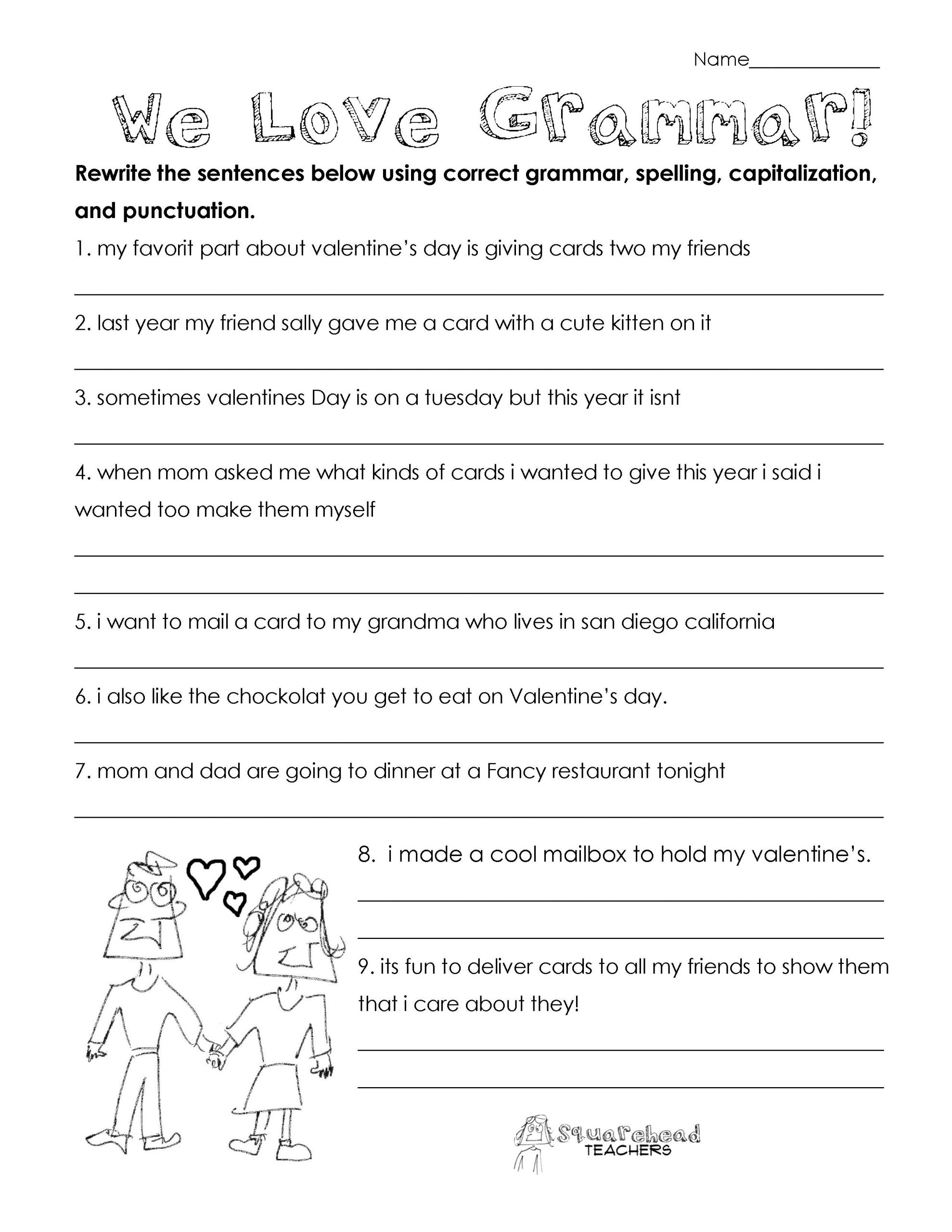 Valentine s Day Grammar free worksheet for 3rd grade and up