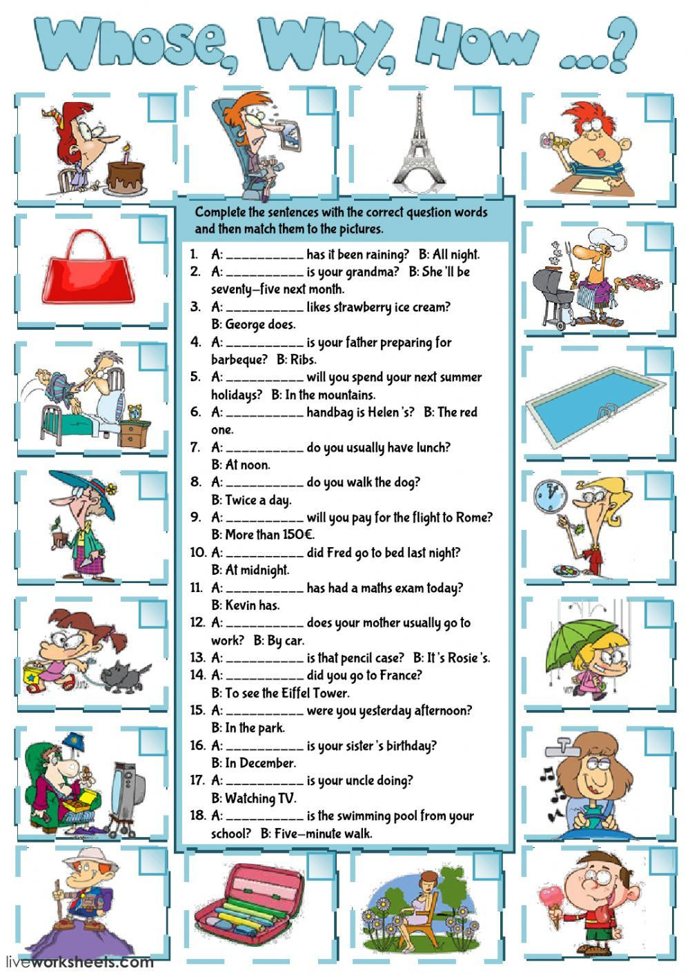 Grammar Worksheets Middle School Pdf Question Words Interactive and Able Worksheet You