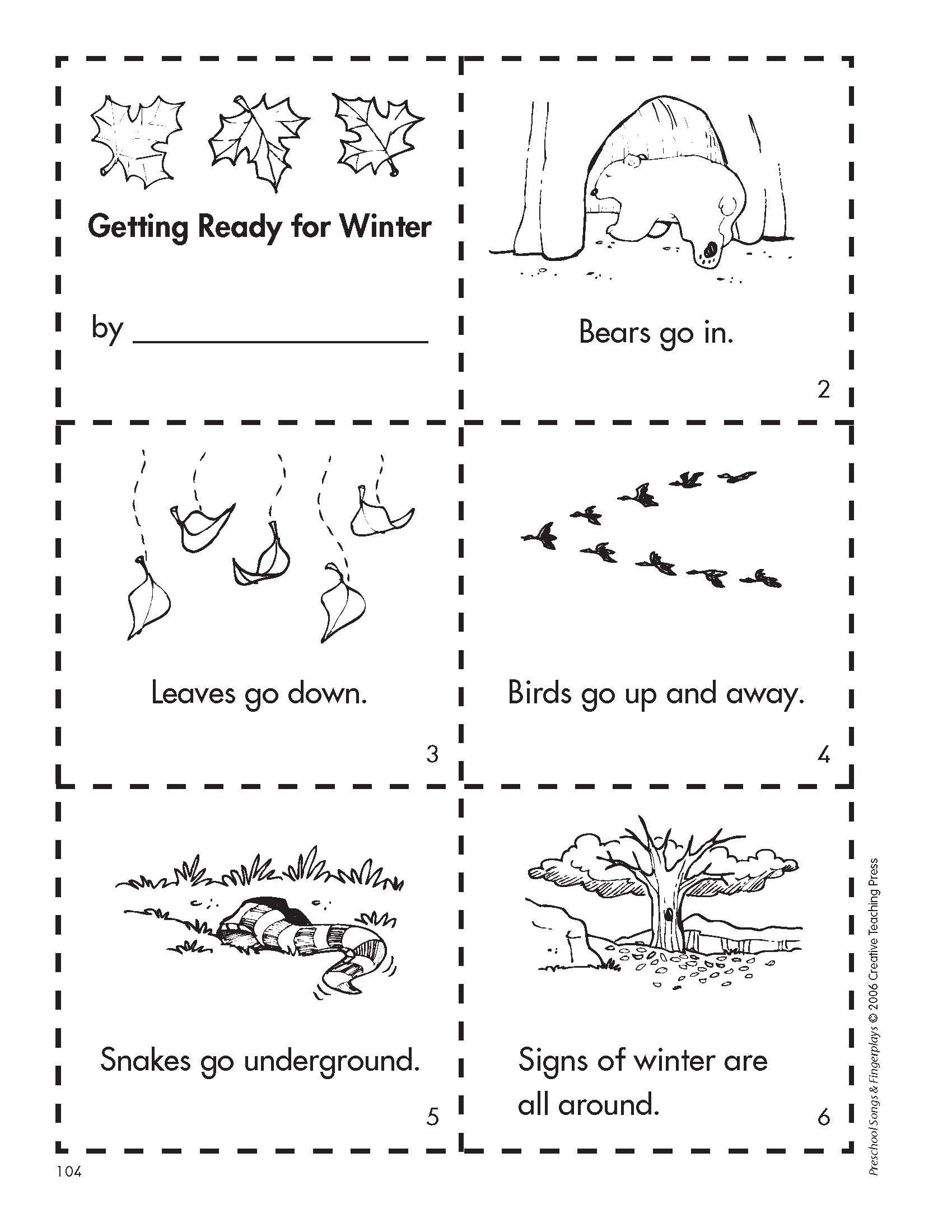 Hibernation Worksheets for Preschool Get Ready for Winter with This Free Minibook Reproducible