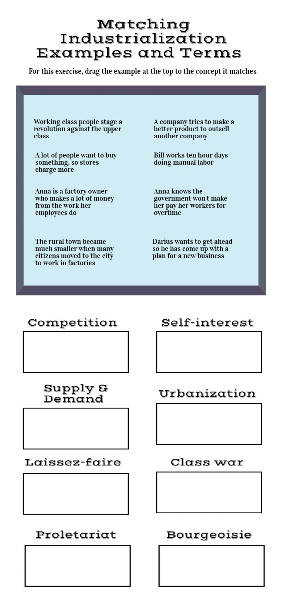 History Worksheets for 2nd Grade Industrialization Examples and Terms Interactive Worksheet