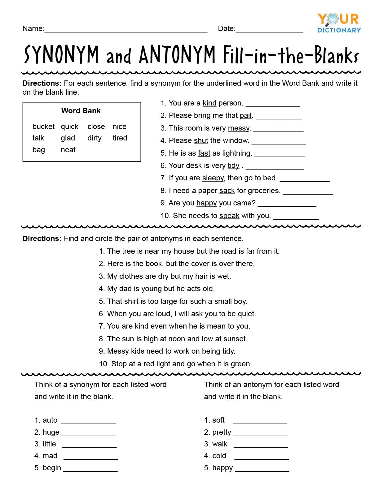 Homonym Worksheets Middle School First Grade Synonyms and Antonyms Worksheets