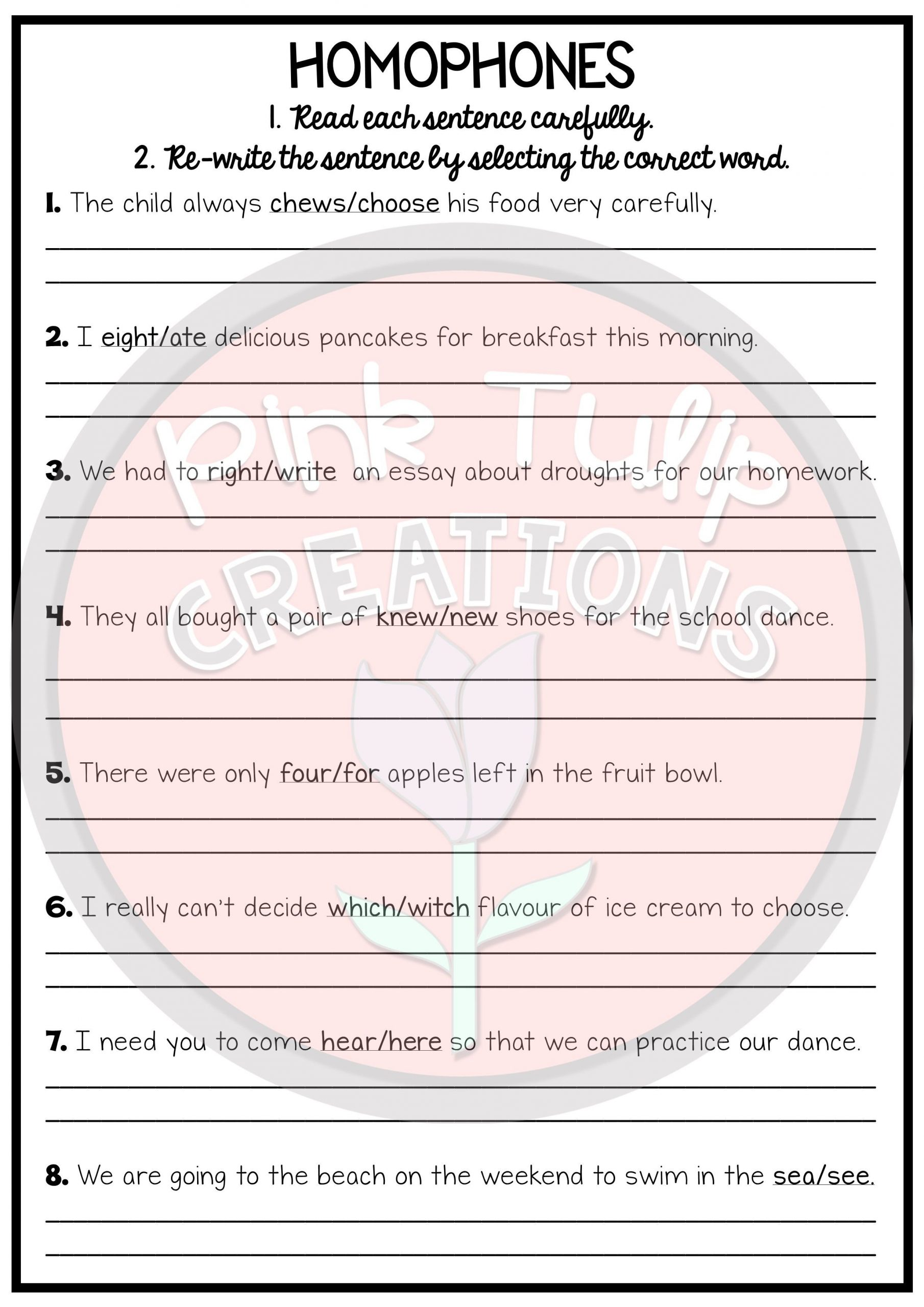 Homophone Worksheets Middle School Homophone Activities Printable Worksheet