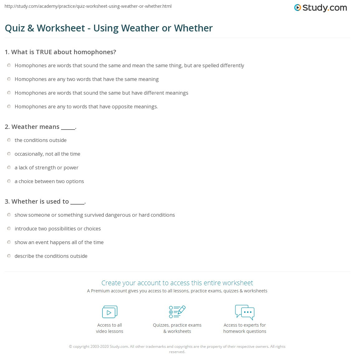 Homophone Worksheets Middle School Quiz & Worksheet Using Weather or whether