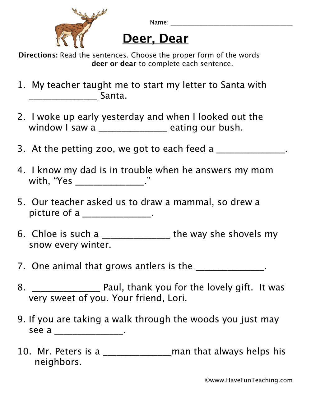 Homophones Worksheet 6th Grade Deer Dear Homophones Worksheet