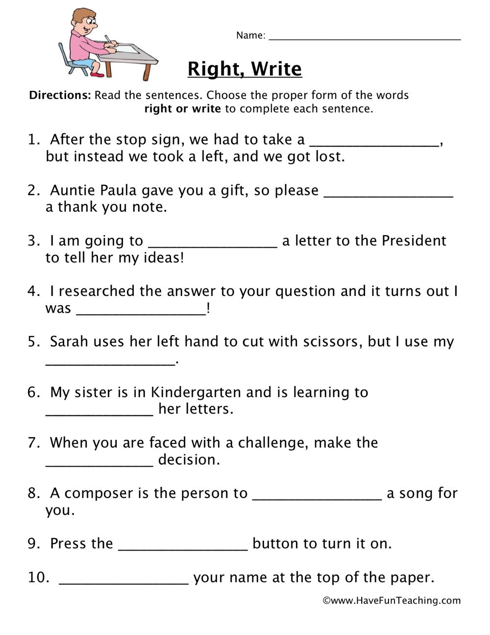 Right Write Homophones Worksheet