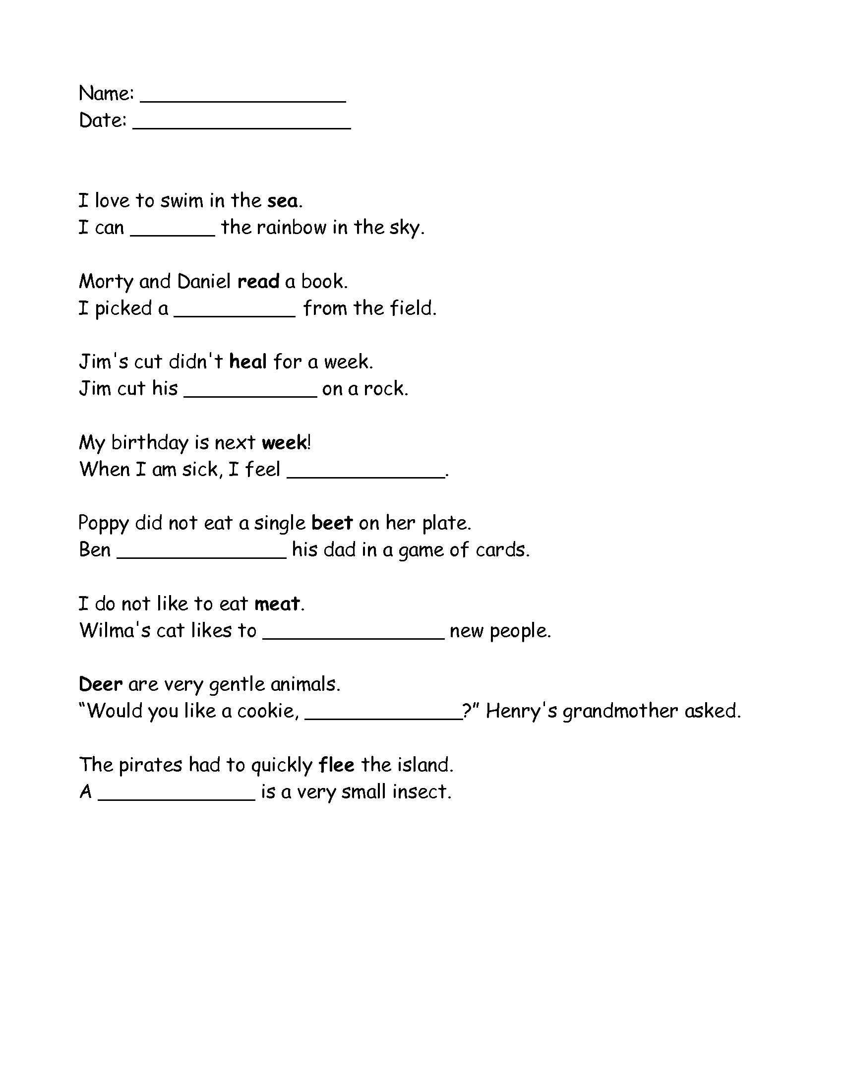 Homophones Worksheets for Grade 2 Grade 2 Homophones Ee and Ea Worksheet that I Made Click